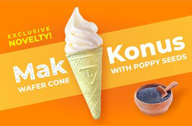 Novelty! Wafer cone with poppy seeds