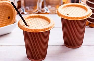 Новинка! Вафельная крышка для кофе