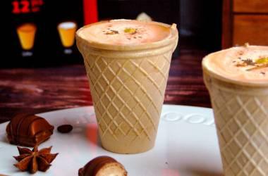 Лавандовое кофе в съедобном вафельном стаканчике