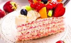 Wafer cake with a butter cream and fruits