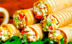 Wafer rolls with crab filling
