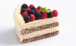 Wafer cake with a raspberry