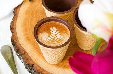 Новинка! Вафельный стакан с шоколадною глазурью Yummy cup 90